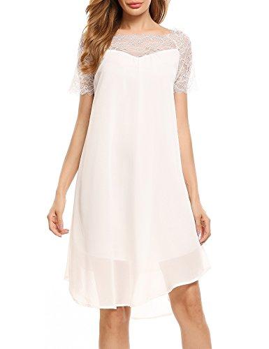 ACEVOG Casual Elegant Chiffon Lace Patchwork A Line Boat Neck Short Sleeve Dress,Medium,White - Cream Short Sleeve Dress