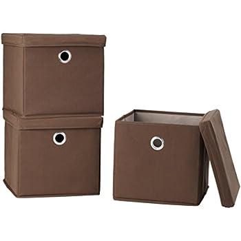 Amazon.com: STORAGE MANIAC Canvas Storage Box with Lid, Folding Lidded Storage Box with Built-in