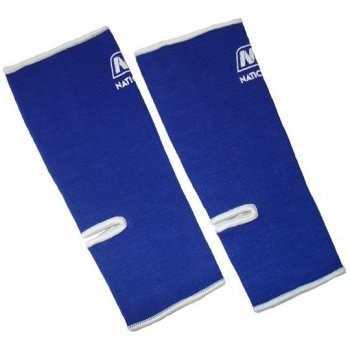 Professional Muay Thai Velcro - Muay Thai Boxing Ankle Wrap Support (NationMan) Blue with White Trim