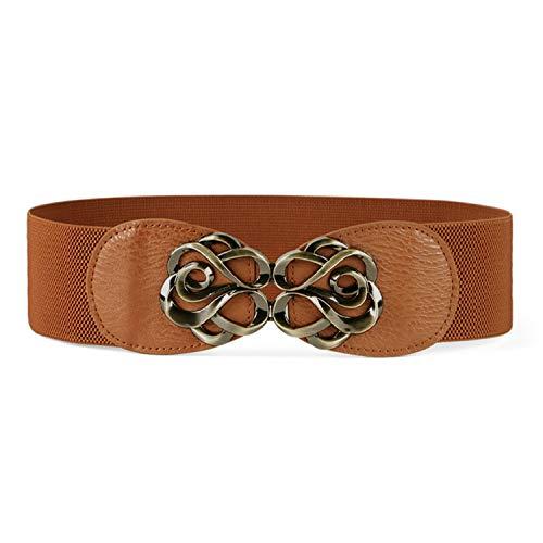 Wide Waist Belts for Women Fashion Elastic Stretch Cinch Belt for Dress Brown ()