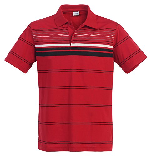 Striped Jersey Polo - Gioberti Mens Modern Fit Striped Short Sleeve Polo Shirt, Red, Size M