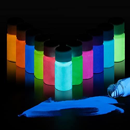 Pigmento luminoso en oscuridad p/ resina  polvo/12 colores
