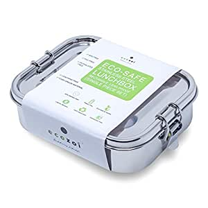 ecozoi Leak Proof Stainless Steel 1-Tier Eco Lunch Box for Kids & Adults with Redesigned Silicone Seal | Bonus POD | Sustainable Zero Waste Eco Friendly Bento Box Food Storage Container