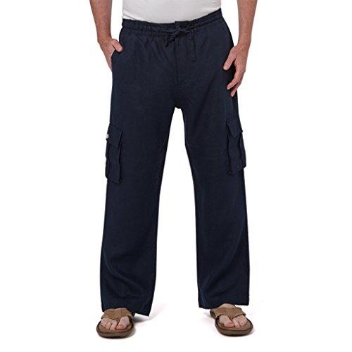 Liash Men's Drawstring Cargo Pants - Men's Linen Pants for Wedding - Lightweight Linen Pants Big &Tall for Beach- Navy Blue- ()