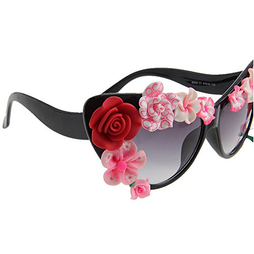 Mano de Gafas Moda de Ojos Proteccion Eyes UV Lady'S Style Cat Summer Sol a Tonos Sunglasses Beach de Protection Hechas Flower 7AHqwC