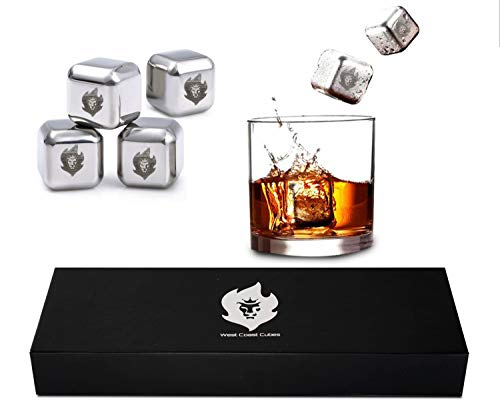 Dry Ice Cubes (West Coast Cubes - Luxury Whiskey Stones Gift Set - Reusable Ice Cubes - Stainless Steel Whiskey Ice Cubes - Whiskey Rocks - Whiskey Gifts for Men - Dry Ice)