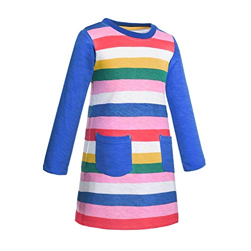 (Cotton Long Sleeve Casual Cartoon Rainbow Appliques Striped Jersey Dresses Clothes for Toddler Girls Kids 6T (6)