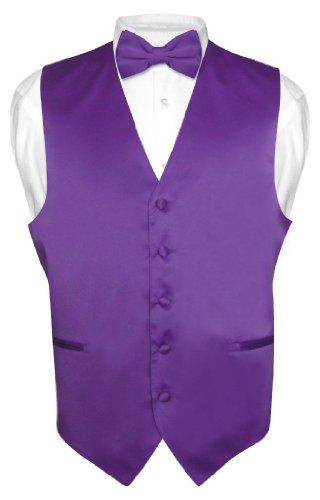 Men's Dress Vest & Bowtie Solid Purple Indigo Color Bow Tie Set - Purple Dress Color Indigo