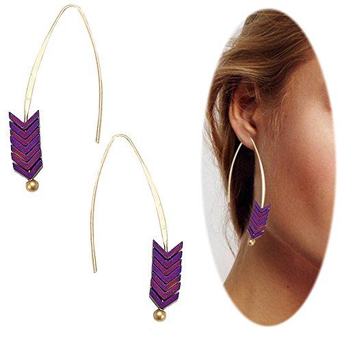 Earrings Casual Purple (Threader Drop Earring Arrow Dangle Hoops Retro Unique Ear Crawler Earrings Climber Long Ear Line Jewelry Purple Tone)