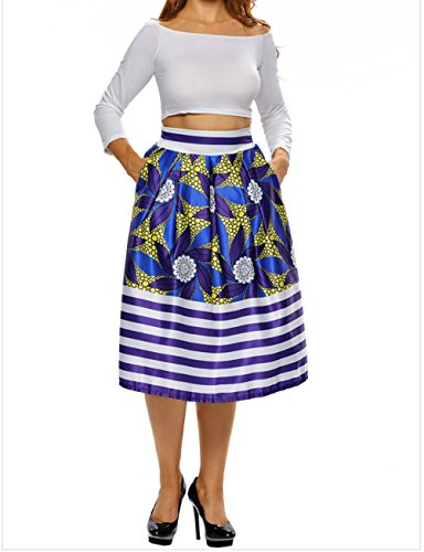 FQHOME Womens Vintage High Waist Floral Stripe A-lined Midi Skirt Size M (H And M Fancy Dress)
