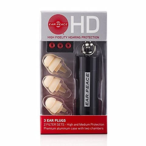 EarPeace HD Ear Plugs - High Fidelity Hearing Protection for Concerts & Music Professionals (Black/White)