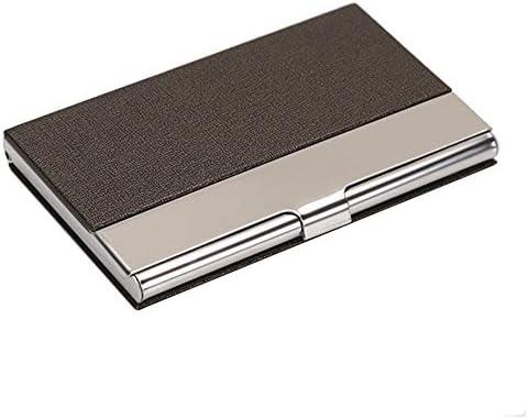 ToBeIT braun Edelstahl Visitenkartenetui/Visitenkartenhalter - Metall Etui Visitenkarten aus PU Leder und Edelstahl 96 * 65 * 13mm für Herren braun