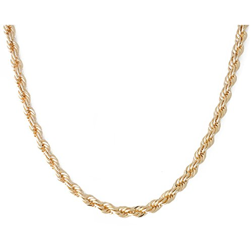 (Gold Chain Necklace 18k Gold Plated 3mm French Rope Chain Jewelry (20.00))