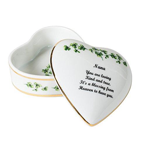 Nana Sentiment Shamrocks Heart Shaped 3 x 3 Inch Porcelain Trinket Jewelry Box