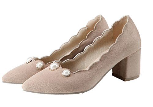 AmoonyFashion Womens Pull-On Kitten-Heels Frosted Solid Pointed-Toe Pumps-Shoes Beige ZxtgqZ90Kh