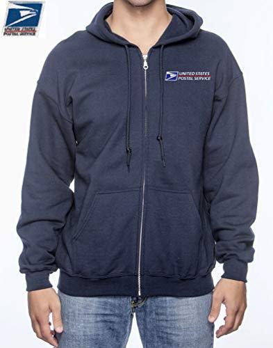 Unisex USPS Postal Post Office Full Zipped Hooded Fleece Hoodie Hood Gildan Navy by PCA Etc