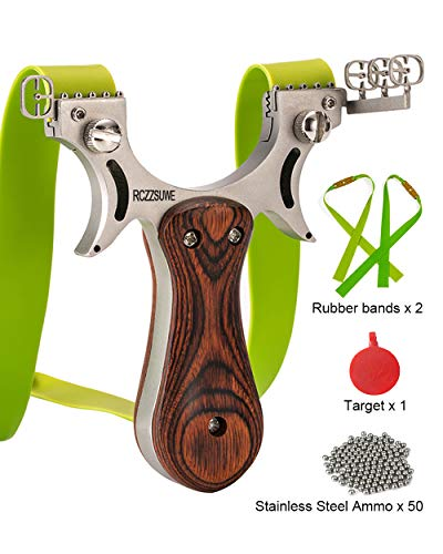 RCZZSUWE Hunting Professional Hunting Slingshot with 2 Bands 50 Ammo