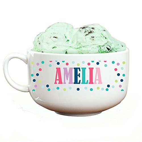 GiftsForYouNow Personalized Polka Dot Ice Cream Bowl, Girl