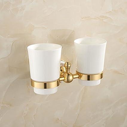 Baño casero ZYJY ZYJYAzul y Blanco Porcelana/Cepillo de Dientes Traje/Golden/Toallero
