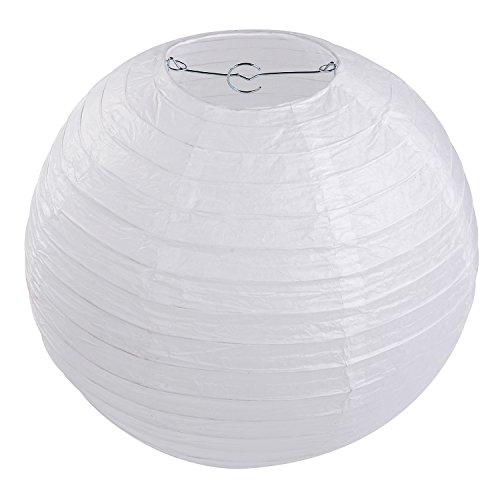 LIHAO 12 Inch White Round Paper Lanterns