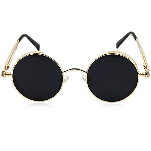 las polarizadas amp; oro pequeño Espejo amztm para lente reflectante Gris efecto hombres y de redondo gafas sol mujeres 1w7q4v