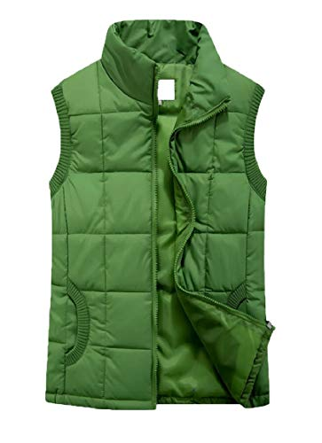 Womens Sleeveless Up security Puffer Zip Down Jacket Collar Green Stand Vests 61a4xwqR
