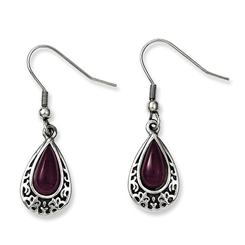Chisel Stainless Steel Antiqued and Purple Cats Eye Teardrop Dangle Earrings One Size