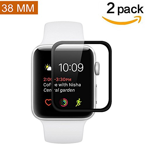 Apple Watch 38mm Screen Protector (Series 2) [Full Coverage] [2 Pack] Asstar Anti-Bubble, Ultra-Thin Ultra HD Premium Tempered Glass Screen Protector For Apple Watch 2 38mm (2 (Two Pack Series)