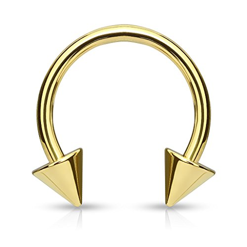 - 7ZACC Gold Titanium IP Over 316L Surgical Steel Circular Spike Horseshoe Barbells - Choose Color/Size (Sold Individually) (16GA |3/8