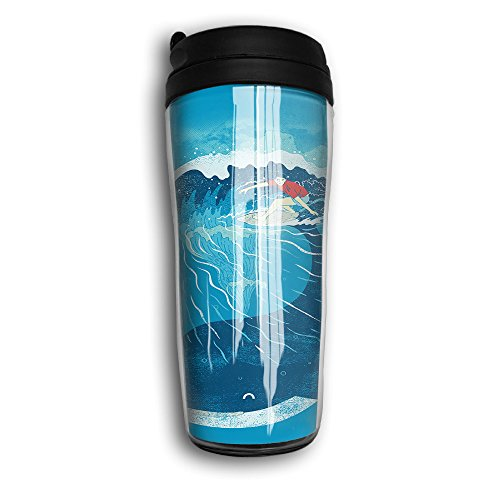 Hyhyhei Whale Wave Art Sea Water Bottle Line Tumbler With Water Tight Flip Top Lid Drink - Plaza Hours Mall The