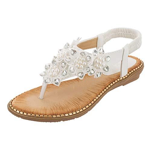 fereshte Women's Flowers Bohemian Beach Flat Dress Thong Sandals White Lable Size 42-260mm - US 10