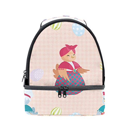Double Decker Lunch Bag Tote Bag Dress ChickenTravel Picnic Lunch Handbags Portable Cooler Lunch Holder Box ()