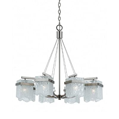 Triarch 31374 8 Light Arctic Ice Chandelier, Satin Nickel