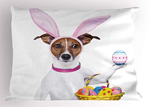 K0k2t0 Easter Pillow Sham, Dog Dressed up as Easter Bunny Holding a Basket of Eggs Funny Animal Illustration, Decorative Standard Queen Size Printed Pillowcase, 30 X 20 inches, Multicolor]()