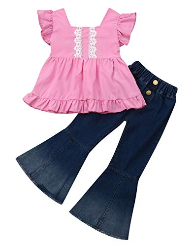 Baby Girls Ruffle Sleeve Lace Floral Dress Tops Tassels Dress+Long Denim Jeans Flare Pants Bell Pants with Pocket (Pink, 2-3 - Tassel Bell 3