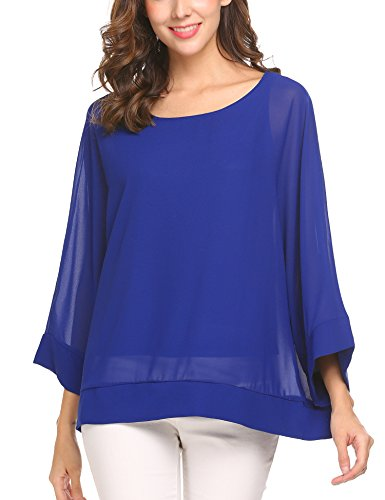 Unibelle Womens Rash Guard Sexy Mesh Blouse Batwing Sleeve Chiffon Top Sheer T Shirt, Royal Blue, (Sexy Royal Guard)