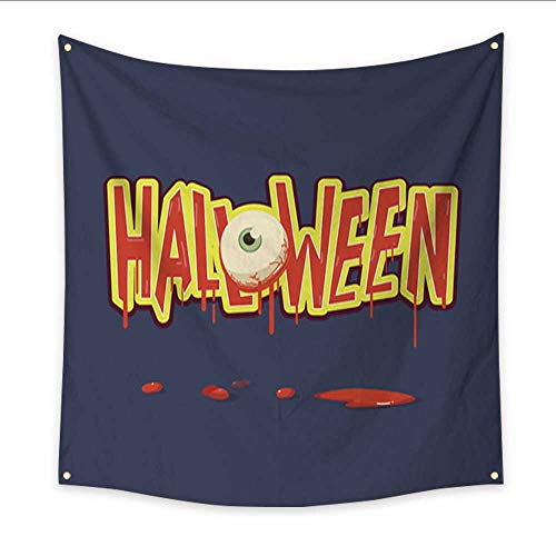 Anniutwo Modern Art Tapestry Halloween Letters with Devil Eye and Blood Vector Illustration Home Decorations 32W x 32L Inch