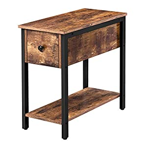 HOOBRO Side Table, 2-Tier Nightstand with Drawer, Narrow End Table for Small Spaces, Stable and Sturdy Construction…