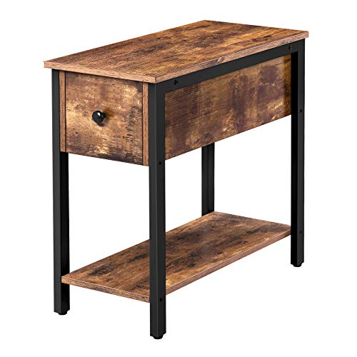 HOOBRO Narrow Side Table, 30 cm Slim Bedside Table with Drawer and 2-Tier Storage Shelf, Industrial Nightstand, for…