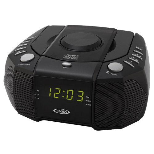 Jensen JCR310 Top Loading AM/FM PLL Stereo CD Dual Alarm Clock Radio with 0.6-Inch Green LED Display and Aux Line-In