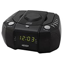 Jensen JCR310 Top Loading AM/FM PLL Stereo CD Dual Alarm Clock Radio with 0.6-Inch LED Display and Aux by Jensen, Green