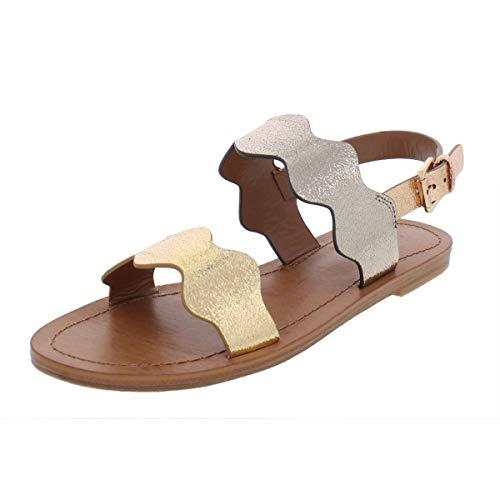 (Indigo Rd. Womens She Metallic Faux Leather Flat Sandals Gold 5.5 Medium (B,M))