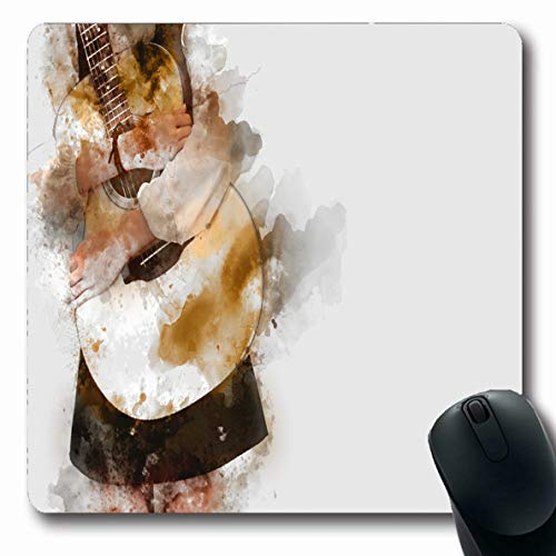 Ahawoso Mousepads for Computers Instruments Artist Embrace Guitar On Watercolor Painting Abstract Guitarist Band Blues Brush Concert Oblong Shape 7.9 x 9.5 Inches Non-Slip Oblong Gaming Mouse Pad ()