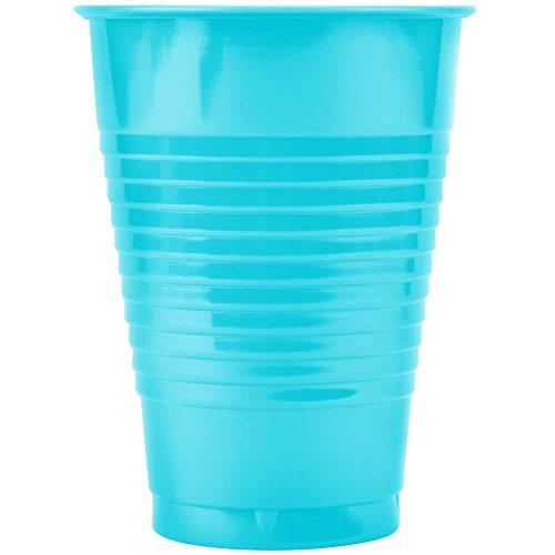28103971 12 oz. Bermuda Blue Plastic Cup - 20/Pack By TableTop King