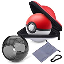 HEYSTOP Portable Carrying Case for Nintendo Switch Poke Ball Plus Controller with Clear Case, Accessory Bag for Pokémon Lets Go Pikachu Eevee Game for Nintendo Switch(Carrying Case+Carrying Bag+Clear black case)