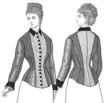 Two-Tone Victorian Era Bodice Pattern