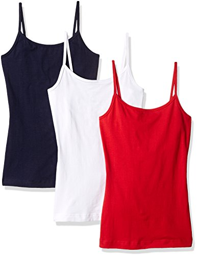 French Toast Junior's 3 Pack Cami Assorted Basics, Red, White, Navy, ()