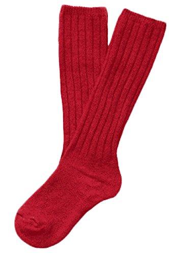 Gellwhu Unisex Baby Children Knee High Knit Wool Socks Solid Color 0-6Y (4-6Y, 1 Pair Red)