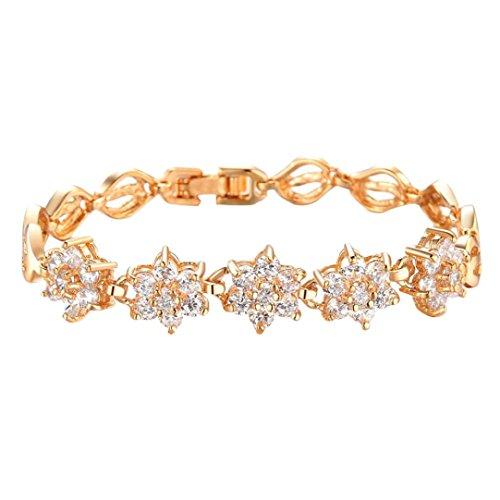 Plated Crystal Trinket Silver Gold (Challyhope Clearance Big Sale! New Fashion Women Elegant Chic Bracelet Zircon Fine Diamond Plated 18K Gold Wheat Handmade Trinkets Bracelet (Gold))