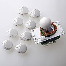 Sanwa JLF-TP-8YT Joystick + 8 piece Sanwa OBSF-30 Push Buttons Bundle Kit Color: White